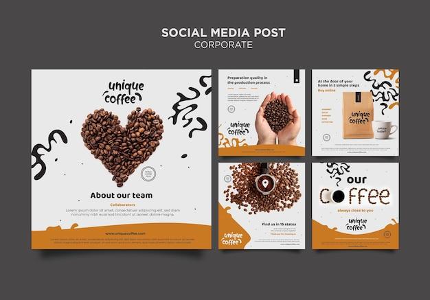 Plantilla de publicación de redes sociales de cafetería