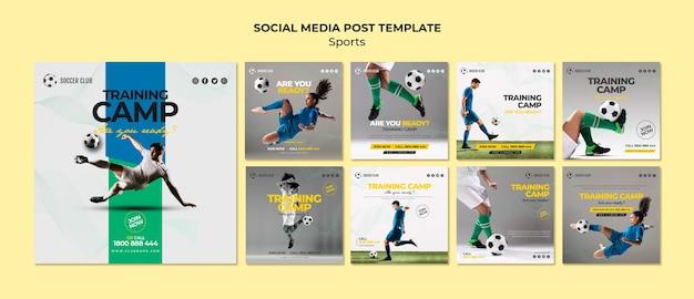 Plantilla de publicación en redes sociales de campo de entrenamiento