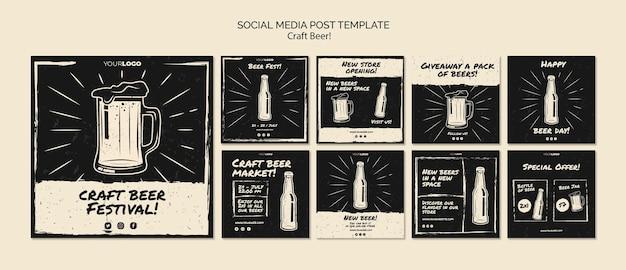 Plantilla de publicación de redes sociales de cerveza artesanal