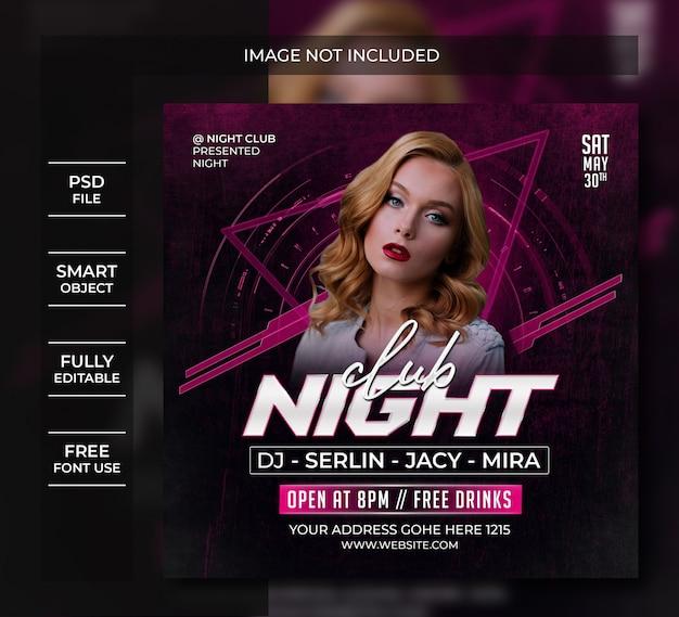 Plantilla de publicación en redes sociales de club nocturno