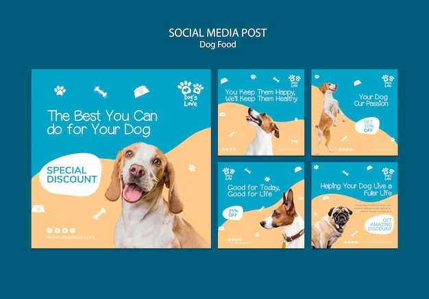 Plantilla de publicación de redes sociales con comida para perros