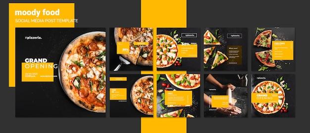 Plantilla de publicación de redes sociales de comida de restaurante moody