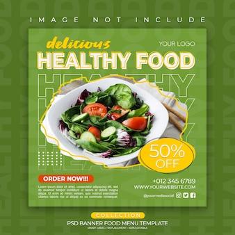 Plantilla de publicación de redes sociales comida saludable menú delicioso restaurante