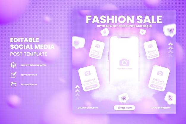 Plantilla de publicación de redes sociales de compras en línea de venta flash con maqueta de teléfono inteligente premium psd