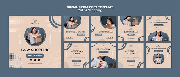 Plantilla de publicación en redes sociales con compras en línea