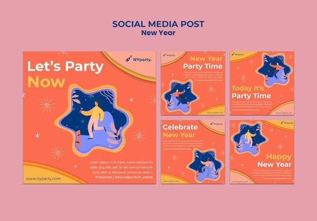 Plantilla de publicación de redes sociales de concepto de año nuevo