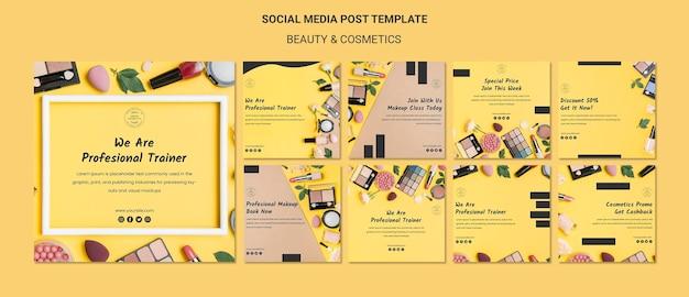 Plantilla de publicación de redes sociales del concepto de belleza y cosmética PSD gratuito
