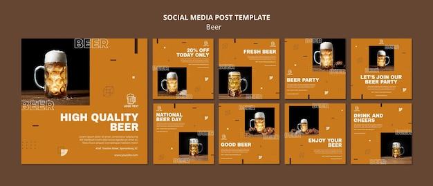 Plantilla de publicación de redes sociales de concepto de cerveza