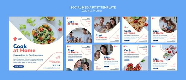 Plantilla de publicación de redes sociales del concepto de cocinar en casa