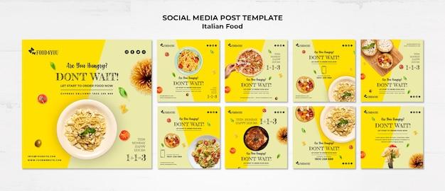 Plantilla de publicación de redes sociales de concepto de comida italiana