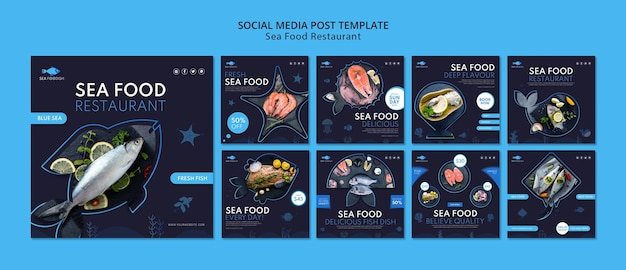 Plantilla de publicación de redes sociales de concepto de comida de mar
