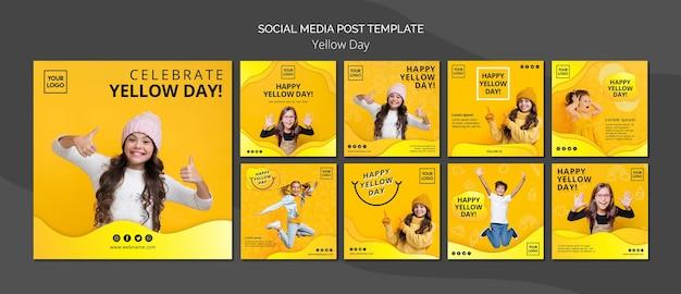 Plantilla de publicación de redes sociales de concepto de día amarillo
