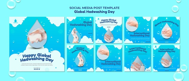 Plantilla de publicación en redes sociales del concepto del día mundial del lavado de manos