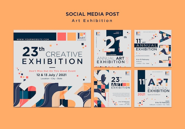 Plantilla de publicación de redes sociales de concepto de exposición de arte