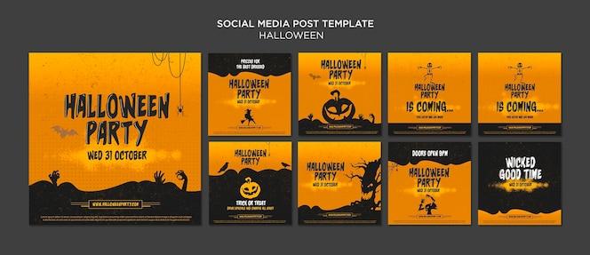 Plantilla de publicación de redes sociales de concepto de halloween