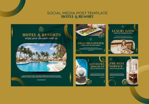 Plantilla de publicación de redes sociales del concepto de hotel y resort