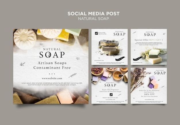 Plantilla de publicación de redes sociales de concepto de jabón natural