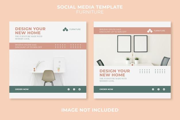 Plantilla de publicación de redes sociales de concepto de muebles modernos