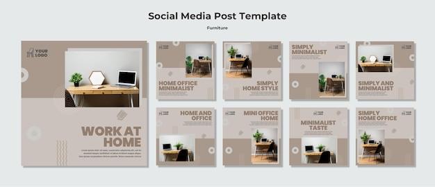 Plantilla de publicación de redes sociales de concepto de muebles