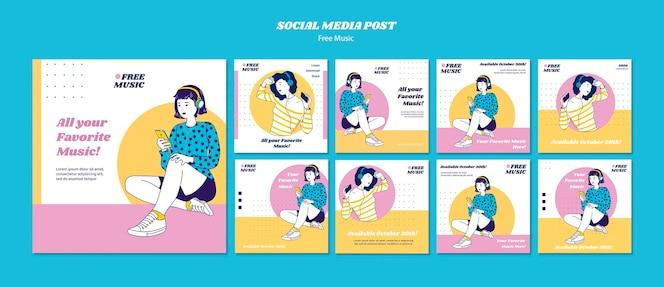 Plantilla de publicación de redes sociales de concepto de música
