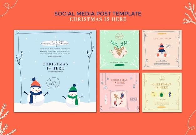 Plantilla de publicación de redes sociales de concepto de navidad