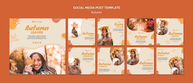 Plantilla de publicación de redes sociales de concepto de otoño
