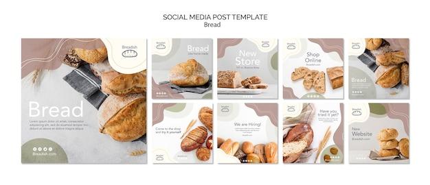 Plantilla de publicación de redes sociales de concepto de pan