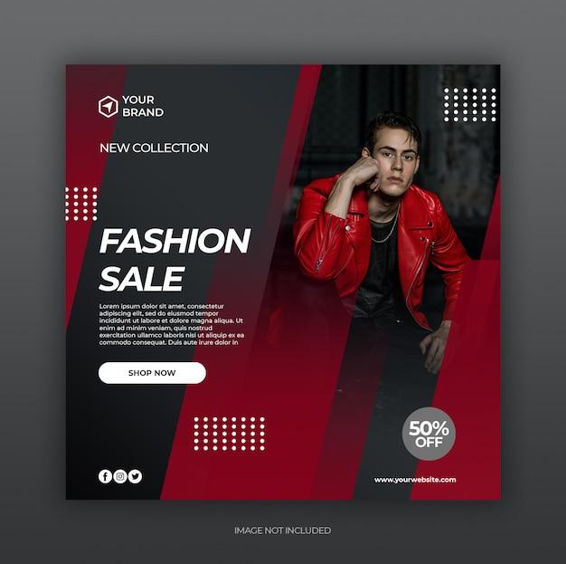 Plantilla de publicación de redes sociales con concepto de promoción de venta de moda negro rojo