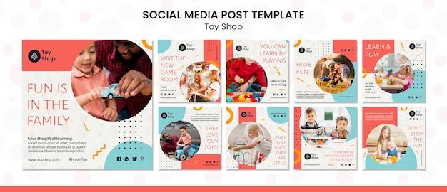 Plantilla de publicación de redes sociales de concepto de tienda de juguetes