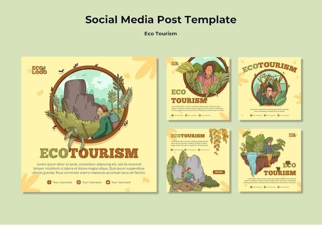 Plantilla de publicación de redes sociales de concepto de turismo ecológico