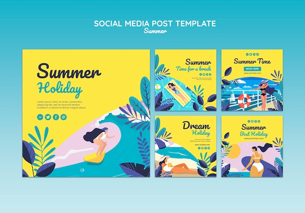 Plantilla de publicación de redes sociales de concepto de verano