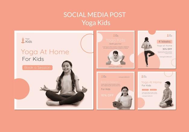 Plantilla de publicación de redes sociales de concepto de yoga