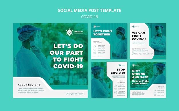 Plantilla de publicación de redes sociales de covid19