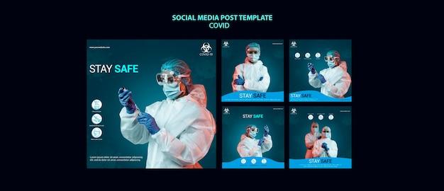 Plantilla de publicación de redes sociales de covid