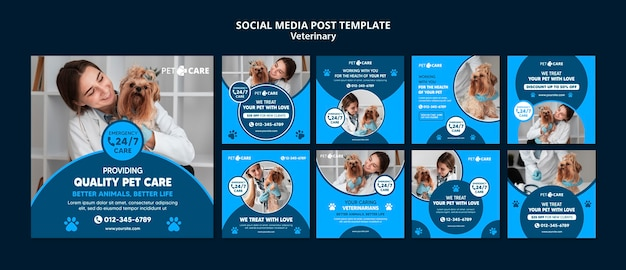 Plantilla de publicación de redes sociales de cuidado de mascotas de calidad
