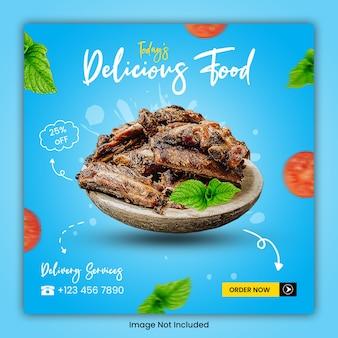 Plantilla de publicación de redes sociales culinarias de alimentos