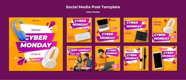Plantilla de publicación de redes sociales de cyber monday