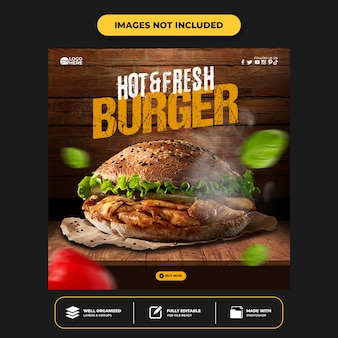 Plantilla de publicación de redes sociales delicious burger