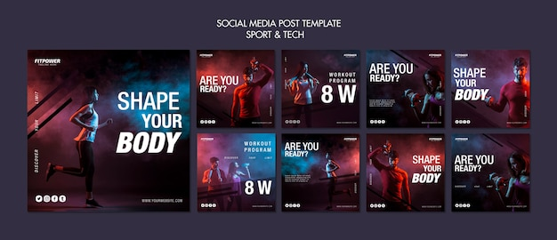 Plantilla de publicación de redes sociales deportivas y tecnológicas