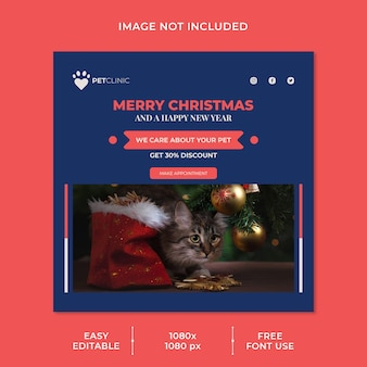 Plantilla de publicación de redes sociales con descuento de clínica de mascotas y navidad