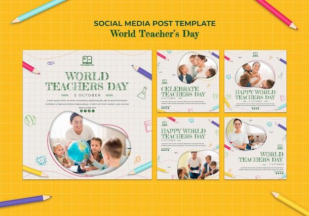 Plantilla de publicación en redes sociales del día del maestro