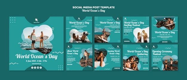 Plantilla de publicación en redes sociales con el día mundial de los océanos