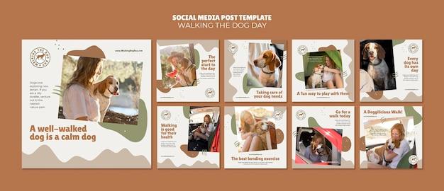 Plantilla de publicación de redes sociales del día de pasear al perro