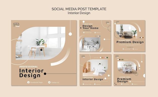 Plantilla de publicación de redes sociales de diseño de interiores