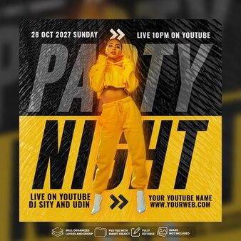 Plantilla de publicación de redes sociales de dj party night flyer psd premium