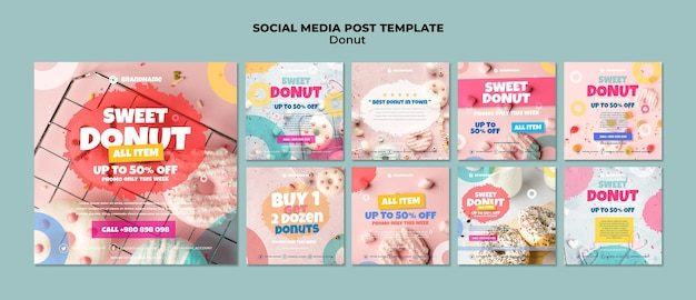 Plantilla de publicación de redes sociales de donut