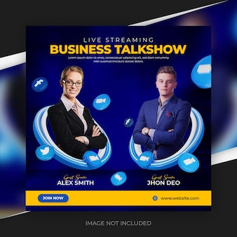 Plantilla de publicación de redes sociales e instagram de talk show de negocios de transmisión en vivo