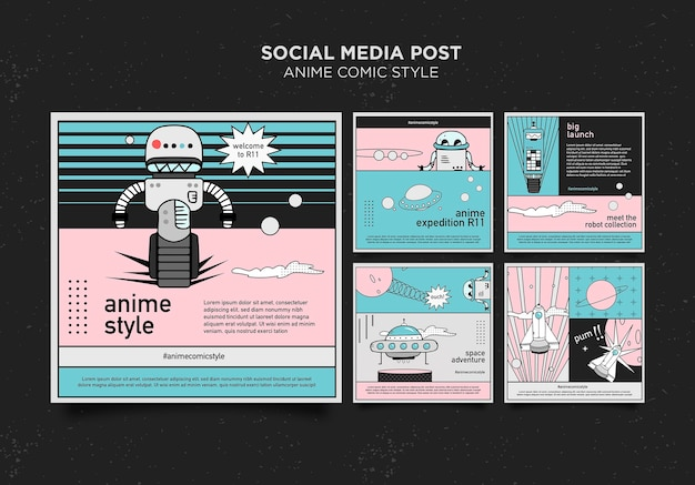 Plantilla de publicación de redes sociales de estilo cómic de anime