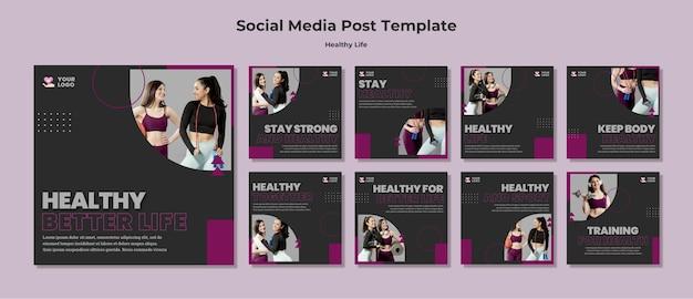 Plantilla de publicación de redes sociales de estilo de vida saludable