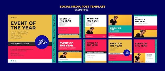 Plantilla de publicación en redes sociales del evento del año